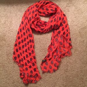 J Crew Factory Orange Scarf with Medallion Pattern